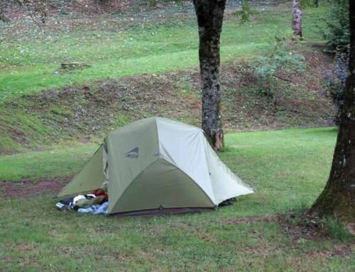 Walking in France: Our tiny campsite