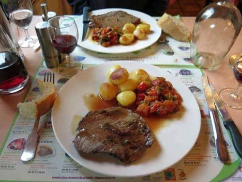 Walking in France: Main course of steaks