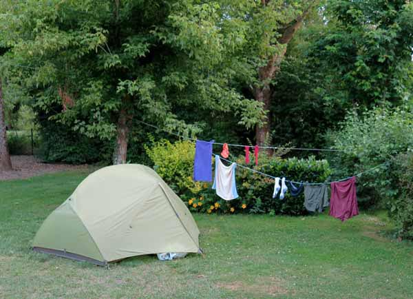 Walking in France: Chauvigny camping ground; nice but run by the most unpleasant guardian we have ever meet in France