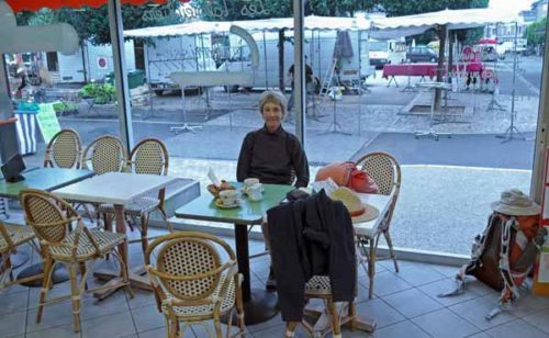 Walking in France: Happy inside the bakery/coffee shop