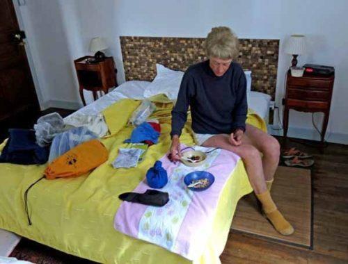 Walking in France: Humble breakfast in hotel room