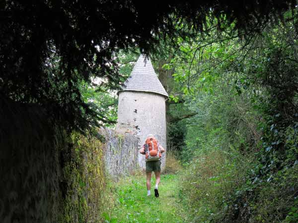 Walking in France: Climbing past an old windmill