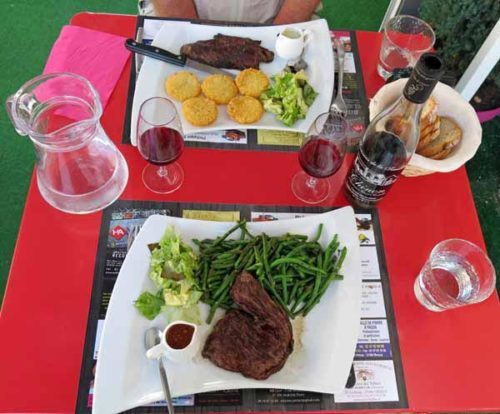Walking in France: Our usual main course of steaks