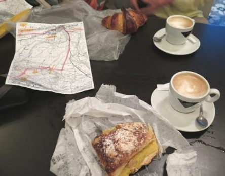 Walking in France: Coffees with a croissant and a Jésuite for breakfast