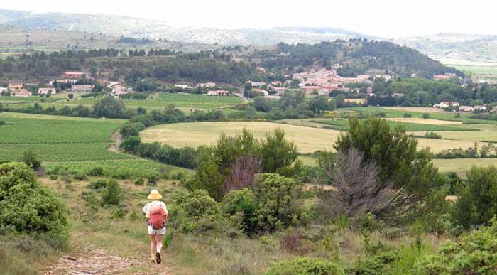 Walking in France: Descending to Montlaur in the Corbières