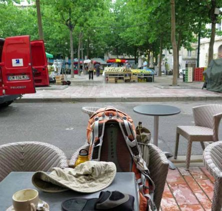 Walking in France: Watching people work while having breakfast