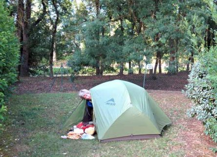 Walking in France: Overlooking the canal at the Castelnaudary camping ground