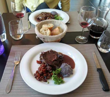 Walking in France: Main courses with mauve mashed potato