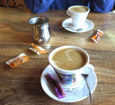Walking in France: Coffees before walking