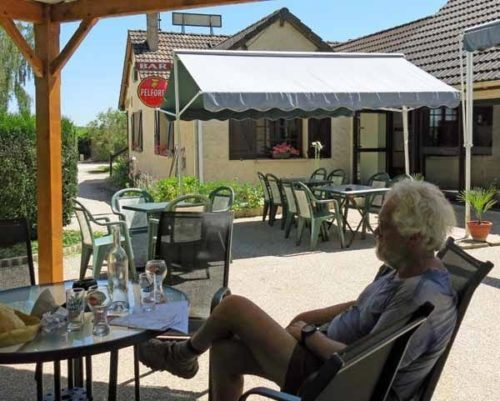 Walking in France: A beer of arrival at le Bois Guillaume camping ground