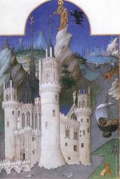 Walking in France: The Temptation of Christ, from Les Très Riches Heures du Duc de Berry