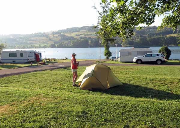 Walking in France: Camping beside the lake of Paladru