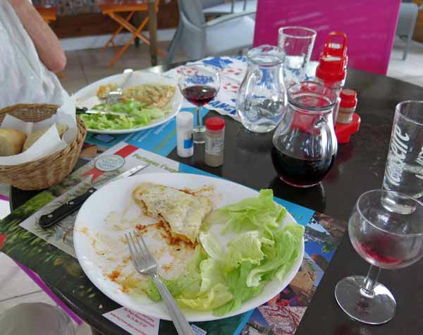 Walking in France: Basic lasagne and salad at the snack bar, Clonas camping ground