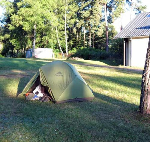 Walking in France: Installed in the spacious Tence camping ground