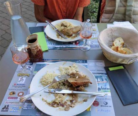 Walking in France: Pork casserole with rice and a courgette tart for mains