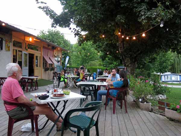 Walking in France: Dinner at the camping ground, Seyssel