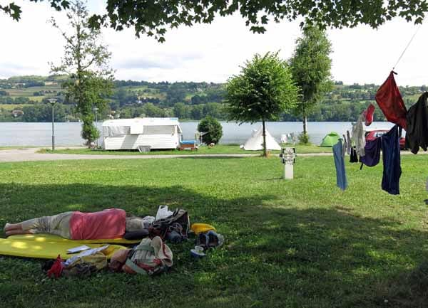 Walking in France: Resting at the Paladru camping ground