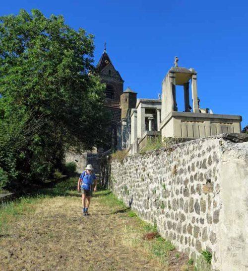 Walking in France: Descending from Polignac beside the graveyard