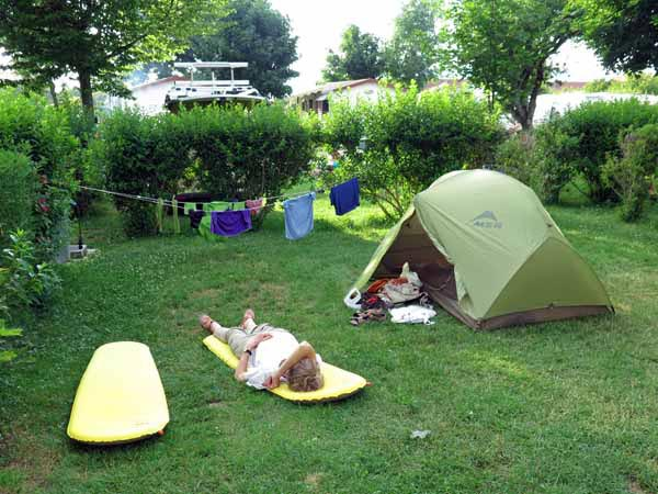 Walking in France: A well earned collapse in the Neydens camping ground