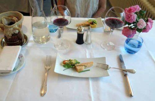 Walking in France: A birthday dinner, starting with an amuse-bouche, Hôtel Reygrobellet, St-Germain-de-Joux