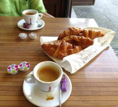 Walking in France: Second breakfast of coffee and yesterday's croissants, Le Paddy's Bar Tabac, Nurieux-Volognat