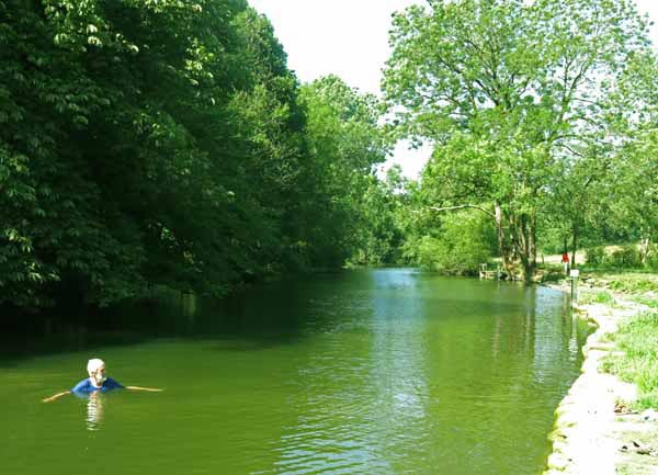 Walking in France: A cleansing swim in the pool