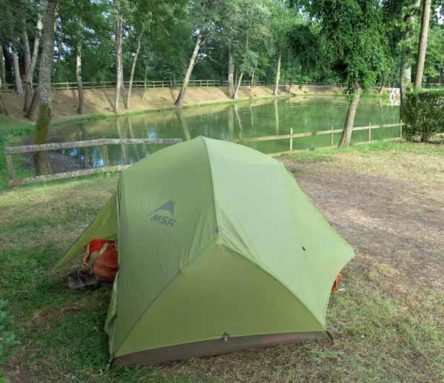 Walking in France: Our campsite beside the château's lake, Château de l'Epervière, Gigny-sur-Saône