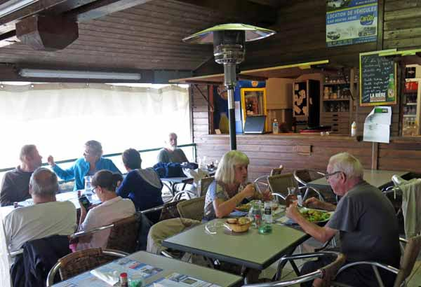 Walking in France: Surprisingly, a gas heater turned on to warm the camping ground restaurant