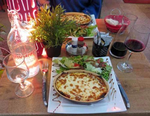 Walking in France: Lasagne and local red for dinner