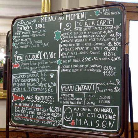 Walking in France: The Café du Nord's menu