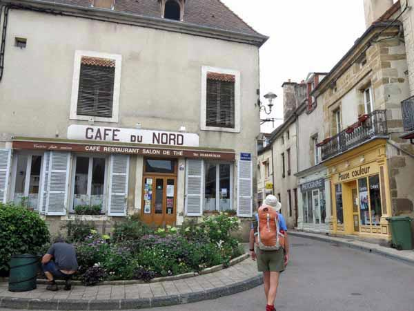 Walking in France: Confidently striding off in the wrong direction past the splendid Café du Nord, Arnay-le-Duc
