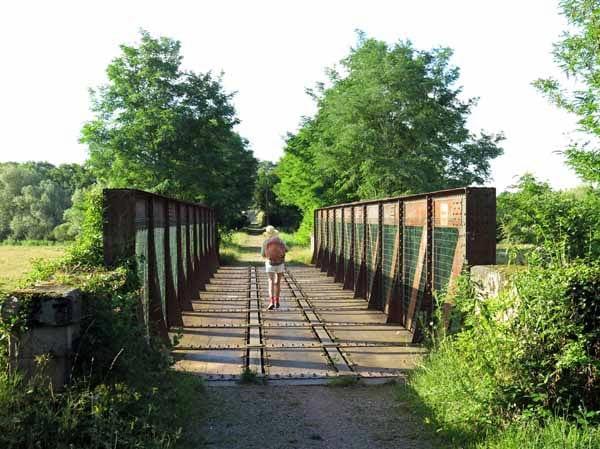 Walking in France: Crossing an old railway bridge