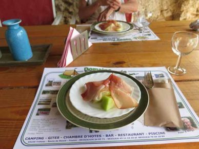 Walking in France: Entrées of ham and green melon