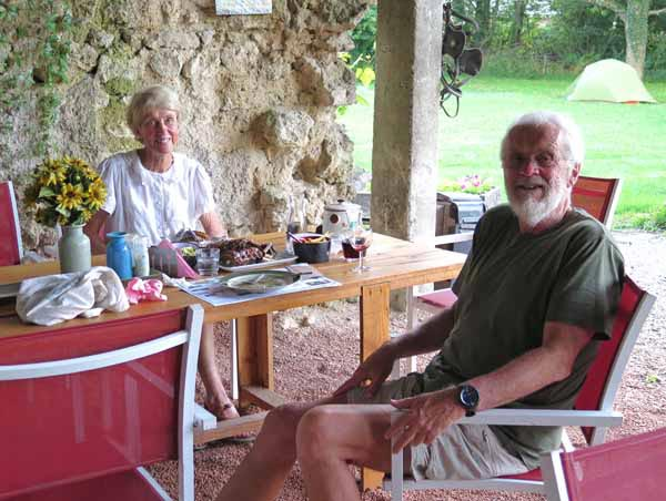 Walking in France: The cavernous dining room with our tent in the background, Treteau camping ground