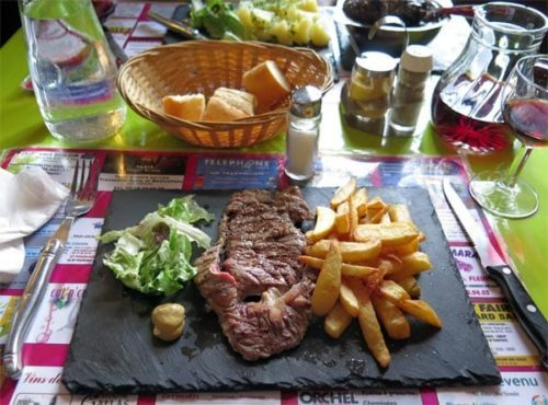 Walking in France: Followed by entrecôte and chips for Keith