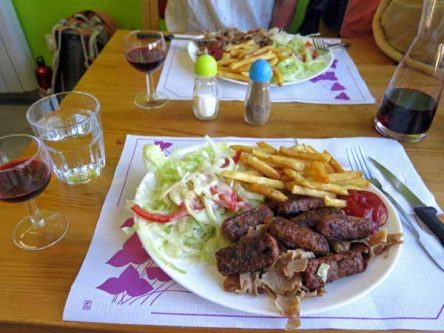 Walking in France: An excellent meal