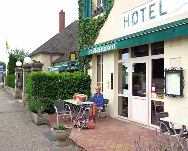 Walking in France: Outside the Tronget hotel, and ready for breakfast