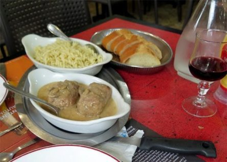 Walking in France: Followed by paupiette de veau with sauce forestière and pasta