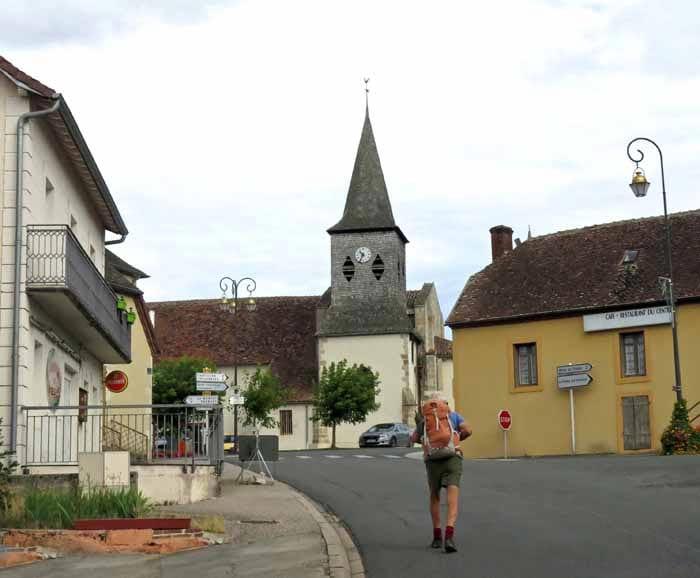 Walking in France: No joy in Treban - a closed bar on each side of the street