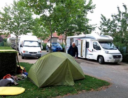 Walking in France: Just enough grass for our tent at the Aire de Camping Car