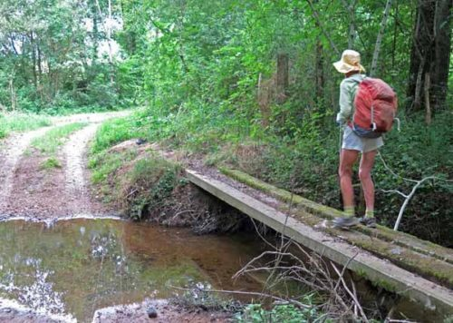 Walking in France: Crossing a small stream