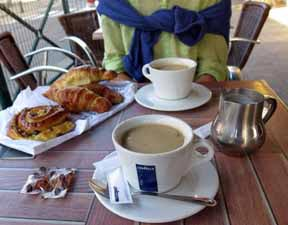 Walking in France: Pastries and coffee for breakfast