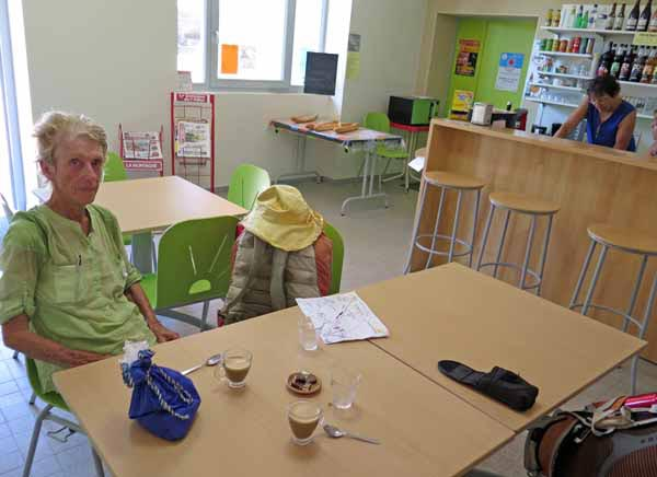 Walking in France: Refreshments in Chazemais - thank goodness the day's walk is done!