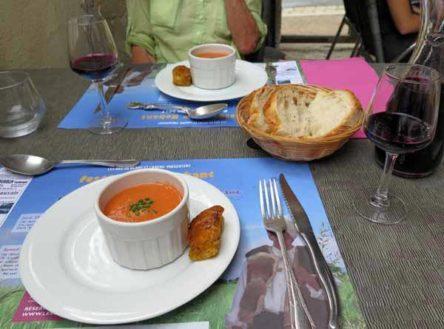Walking in France: Gazpacho to start our wonderful lunch at le Relais du Facteur