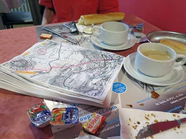 Walking in France: Our pile of maps at the start of our 2018 walk