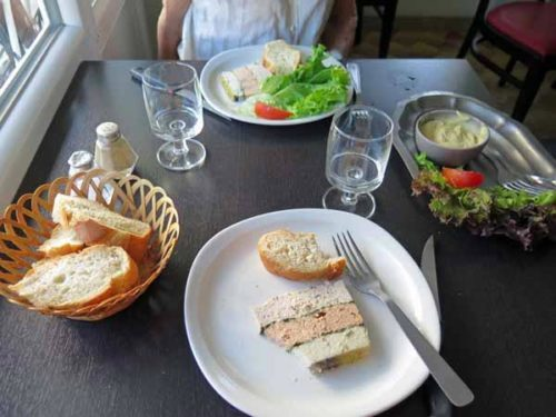 Walking in France: Starting dinner with a delicious home-made terrine