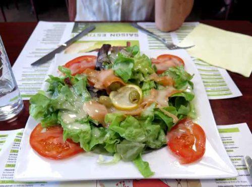 Walking in France: Salade norvegienne for starters at the kebab shop