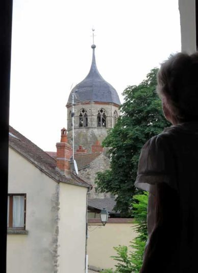 Walking in France: View of the church from our hotel room
