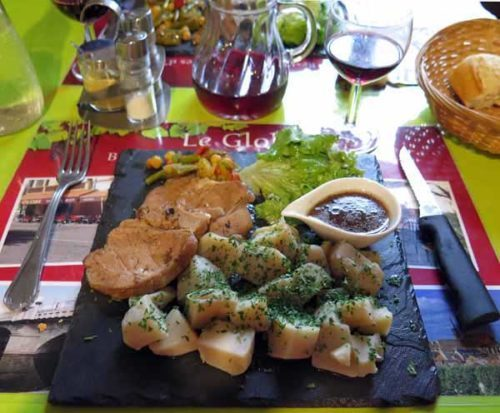 Walking in France: Followed by roast veal for Keith