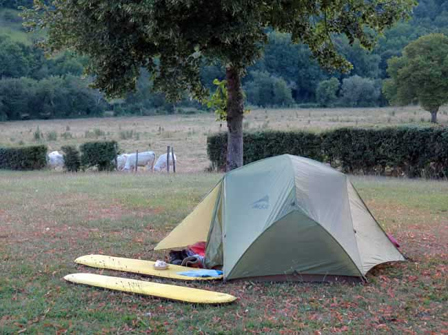 Walking in France: And so to bed at our new camping spot